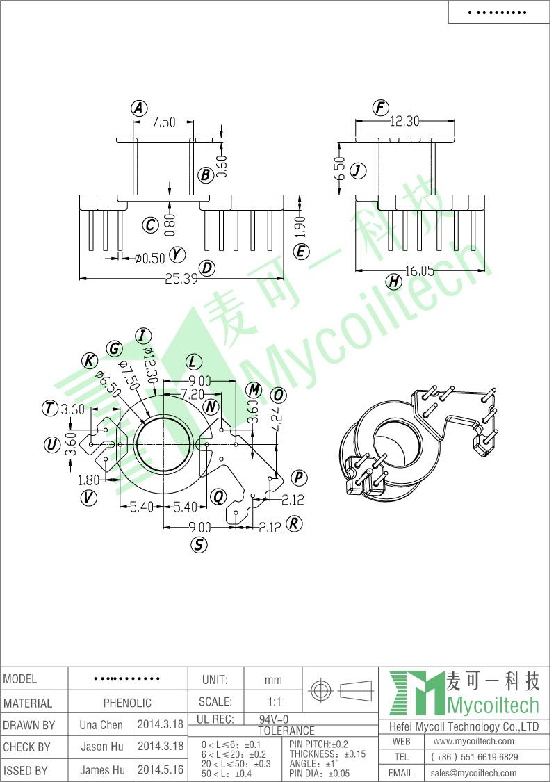 RM6 electronic transformer bobbin