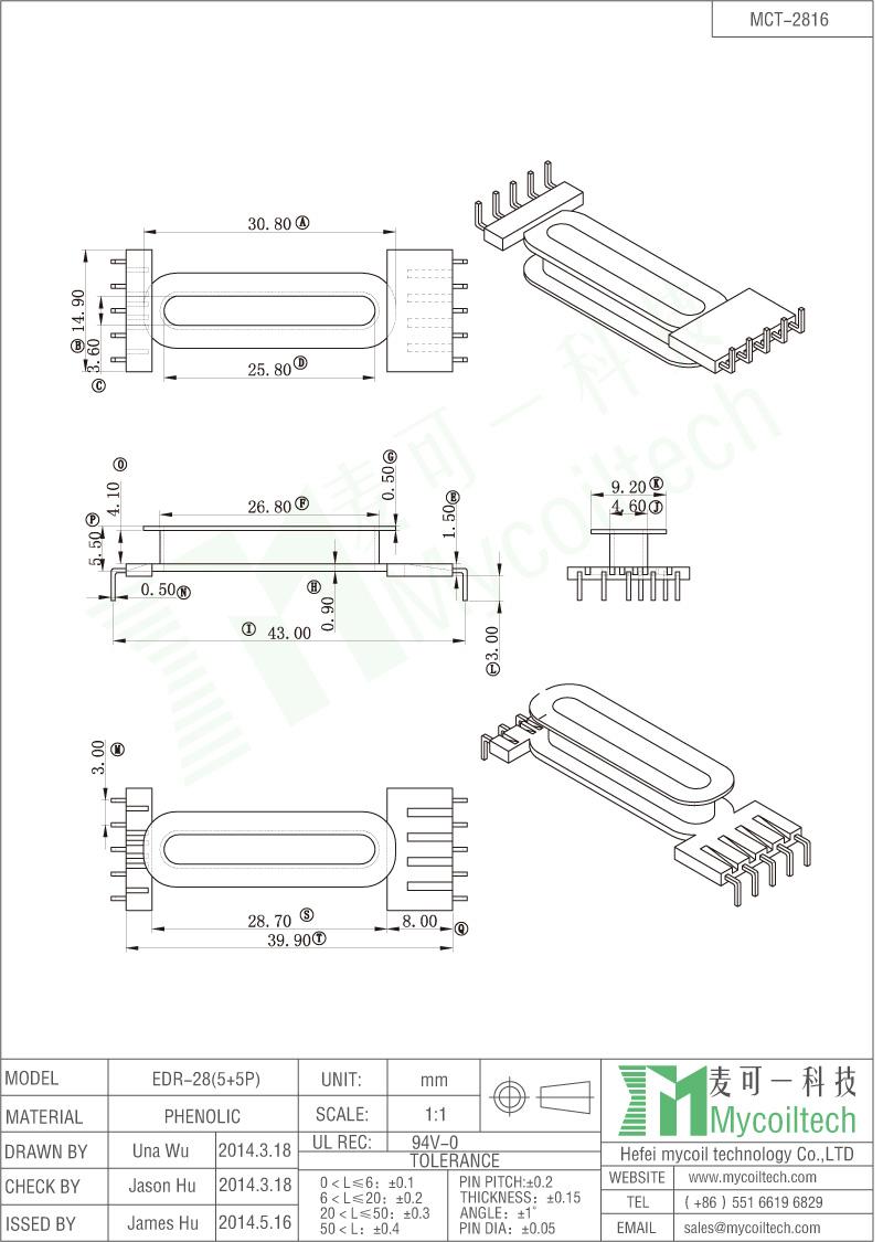 EDR2816 phenolic bobbin 5+5 pins