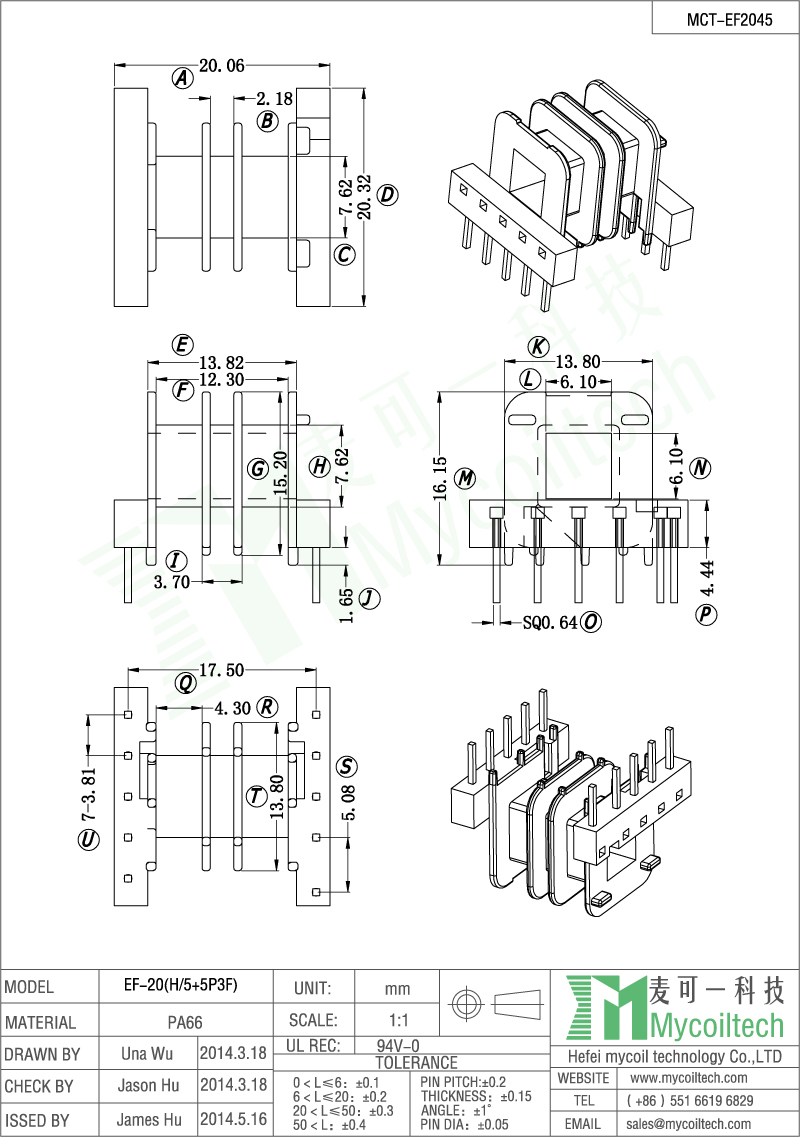 EF20 PA66 material transformer bobbin