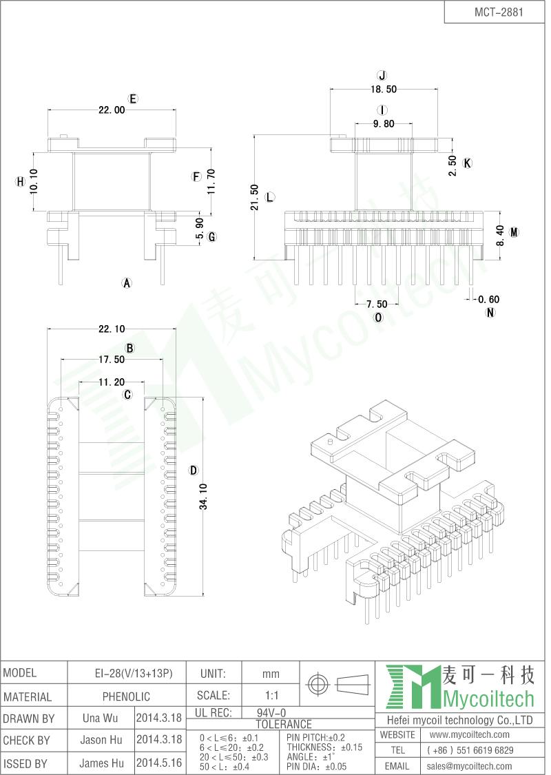 13+13 pins Transformer bobbin EI28