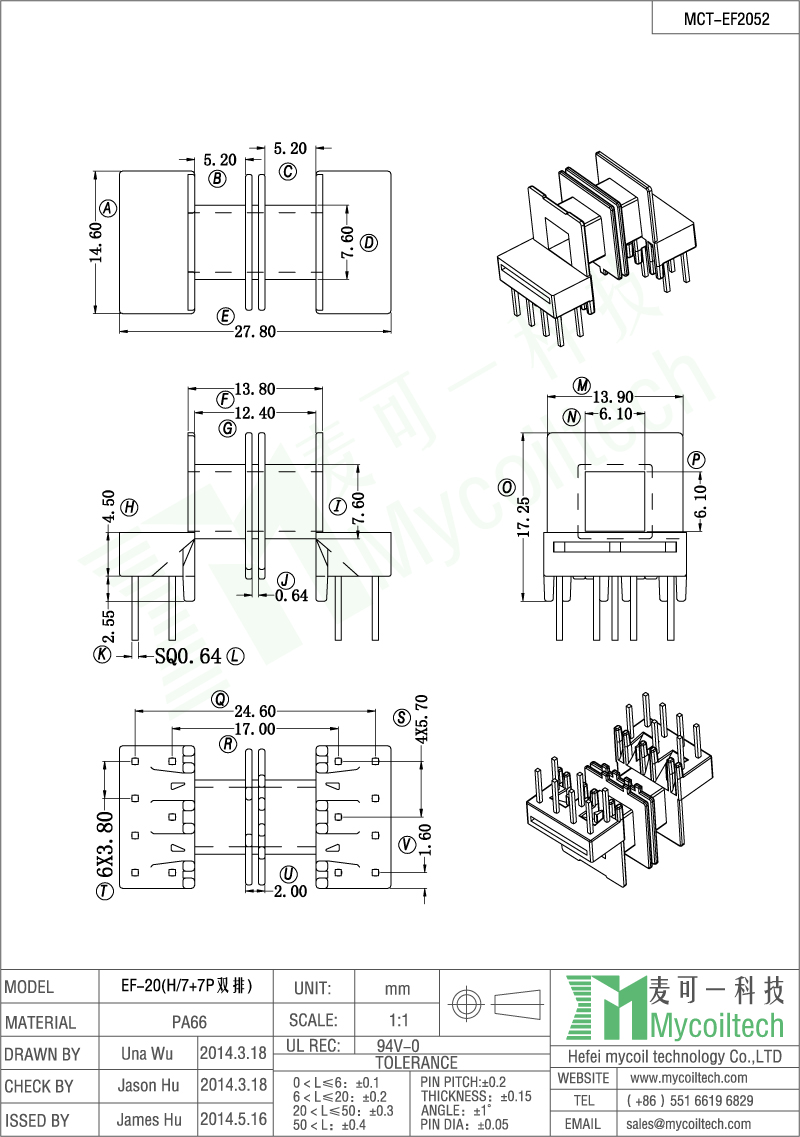 EF20 coil former wholesale