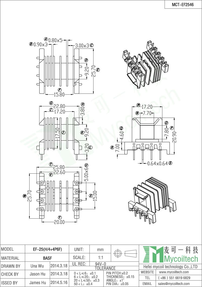 Six slots EF transformer bobbin