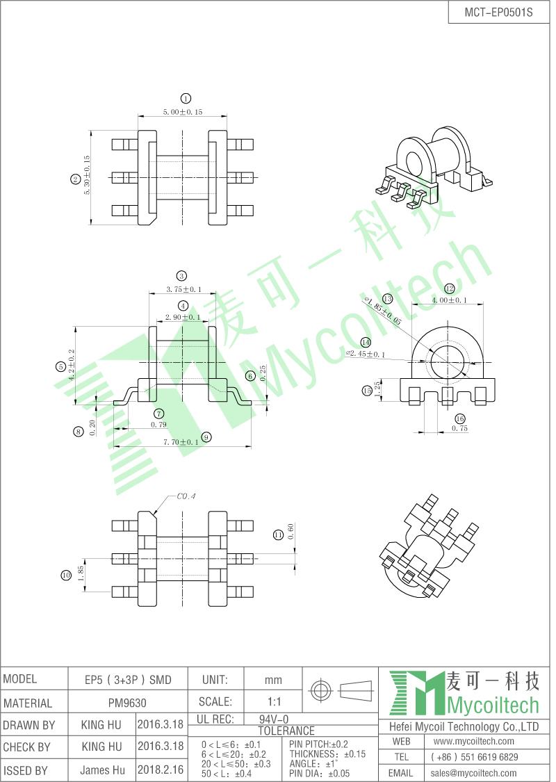 EP5 3+3 pin transformer bobbin