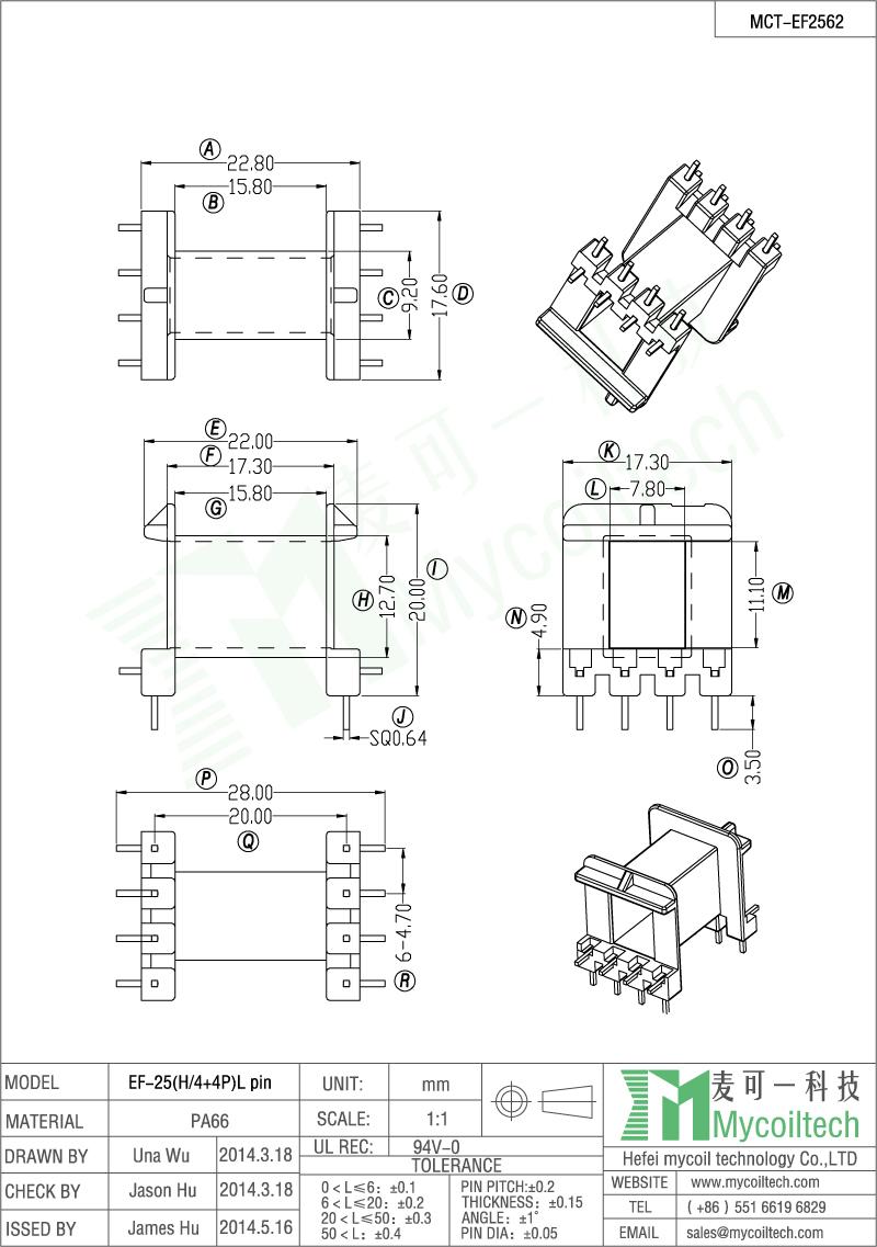 EF L pin transformer bobbin