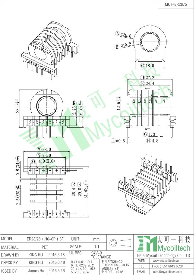 Six slots ER28 coil former
