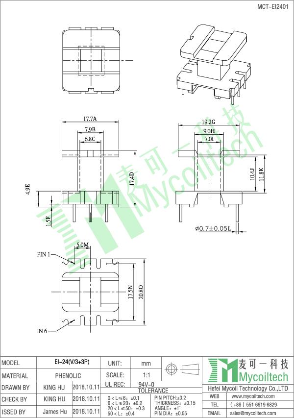 EI24 vertical 3+3 pin bobbin