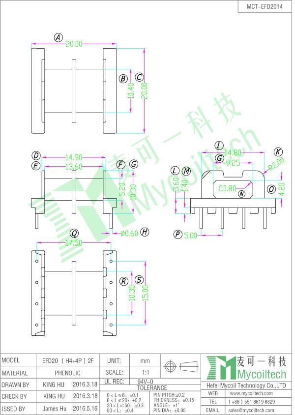 EFD20 bobbin datasheet