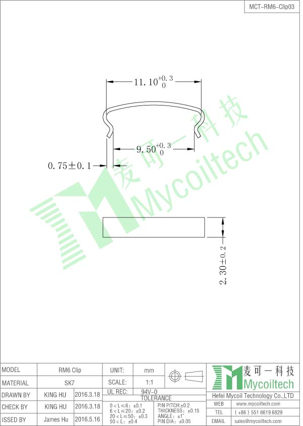 RM6 transformer clip datasheet