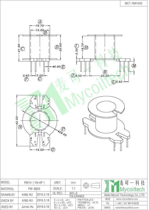 Flyback transformer RM14 bobbin
