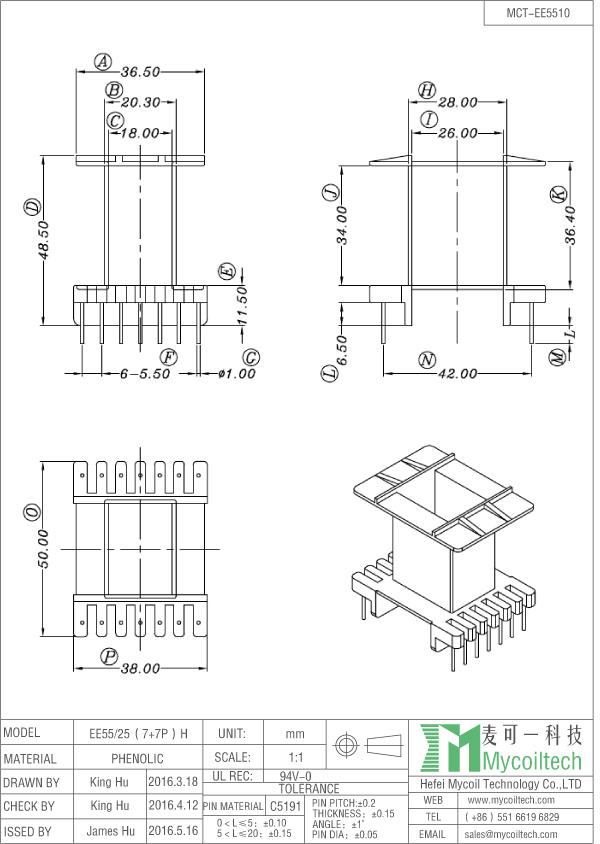 EE55 ferrite transformer bobbin factory