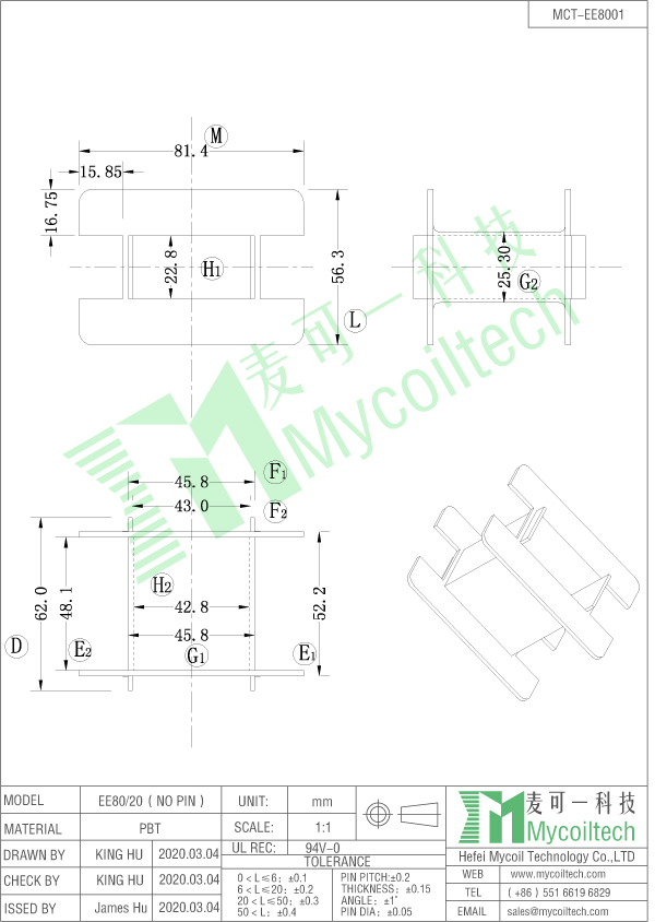 Plastic transformer bobin EE80