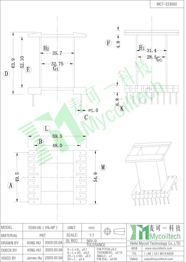 EE85/26 transformer bobbin datasheet