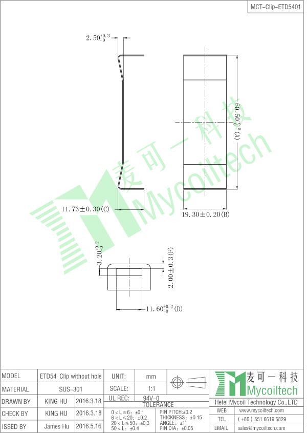 etd54 transformer bobbin clip