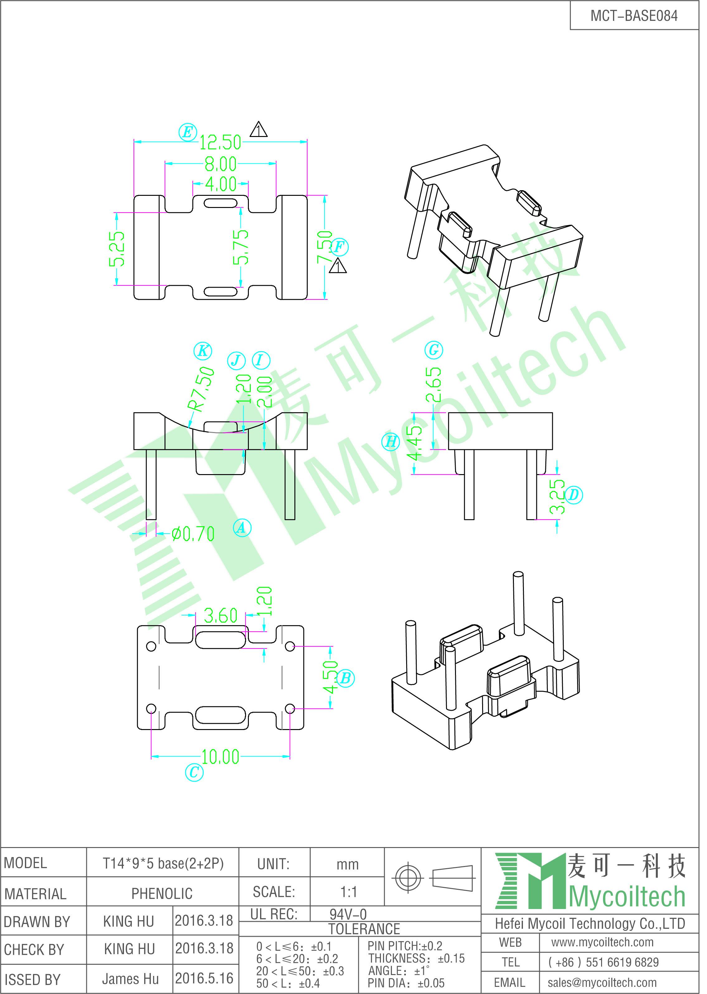 Toroidal core inductor base