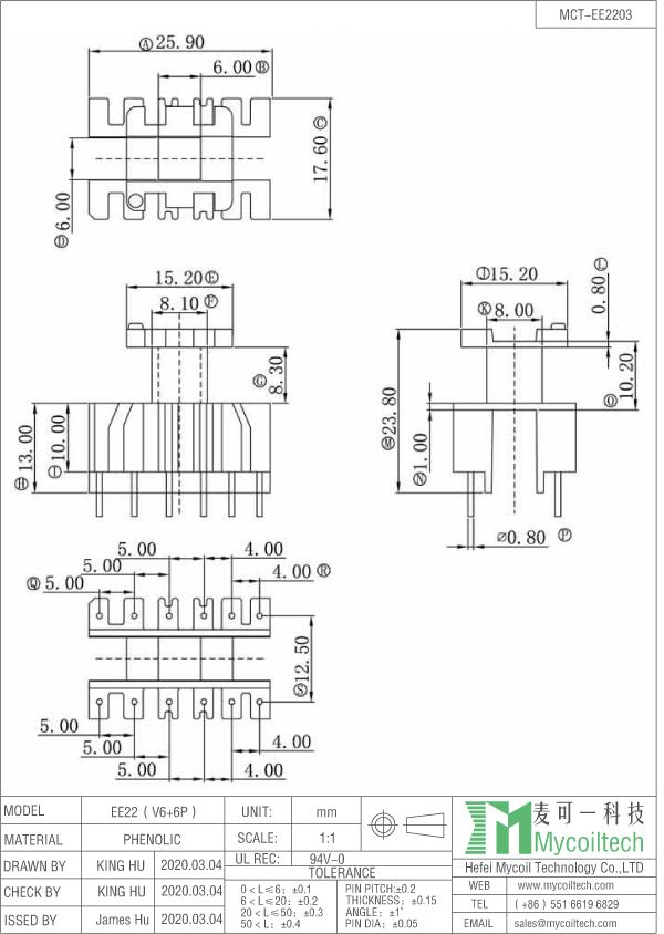 EE22 vertical coil former