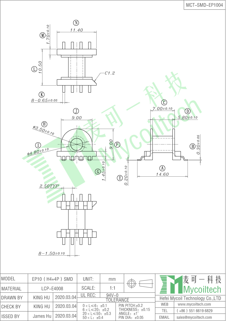ep10 smd coil former