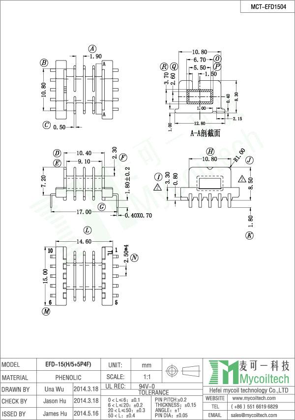 Four Slots EFD15 Transformer Bobbin