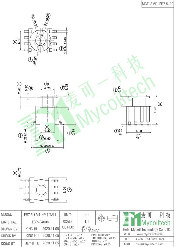 ER7.5 SMD coil bobbin
