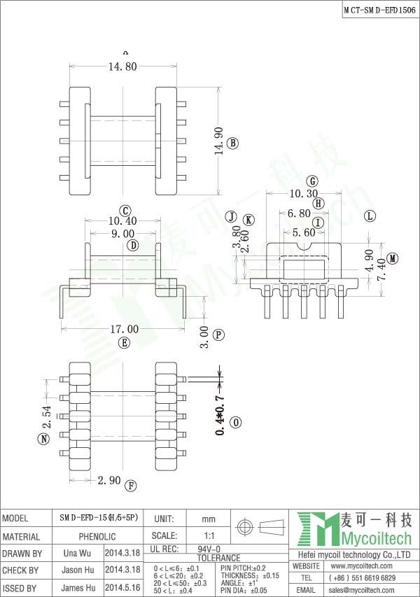 EFD15 SMD coil former