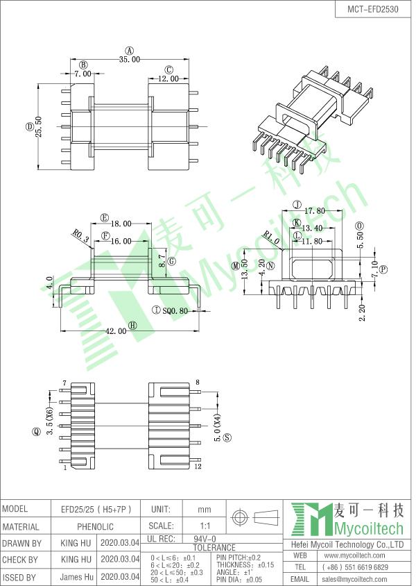 EFD20 L pin bobbin