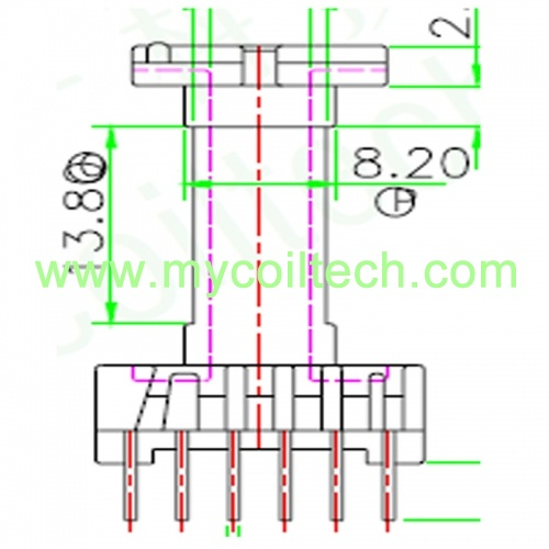 EL19 Vertical Type 4+6 Pins Transformer Bobbin